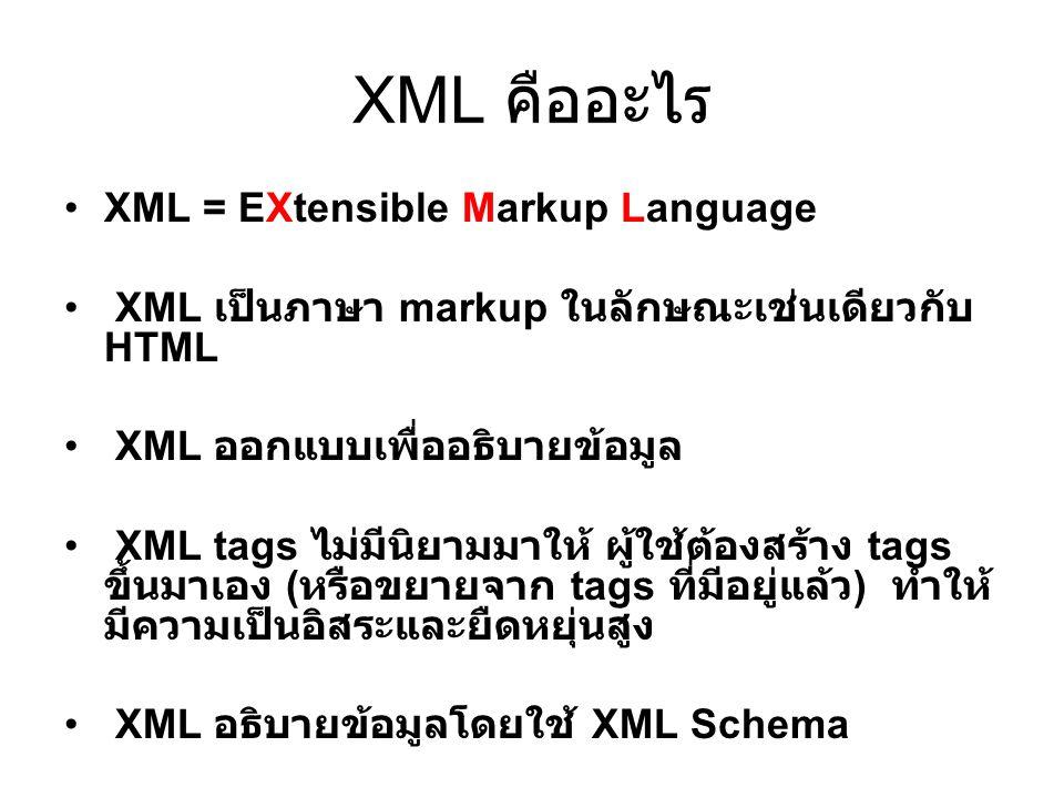 XML คืออะไร XML = EXtensible Markup Language