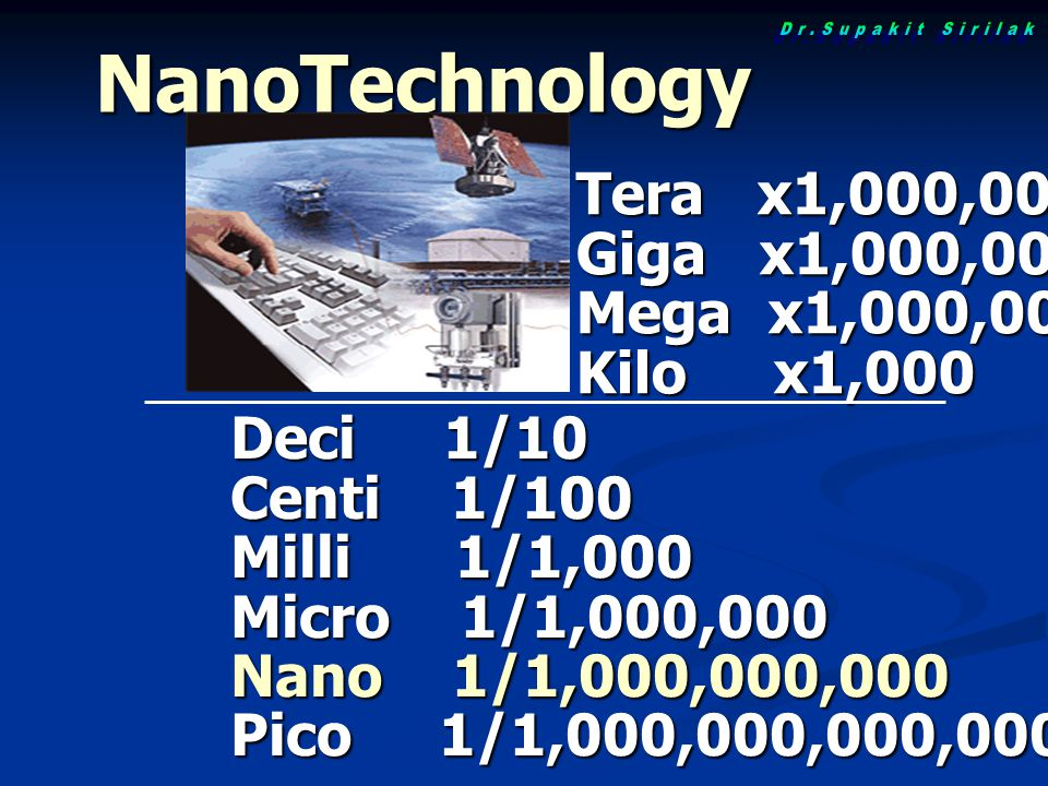 NanoTechnology Tera x1,000,000,000,000 Giga x1,000,000,000