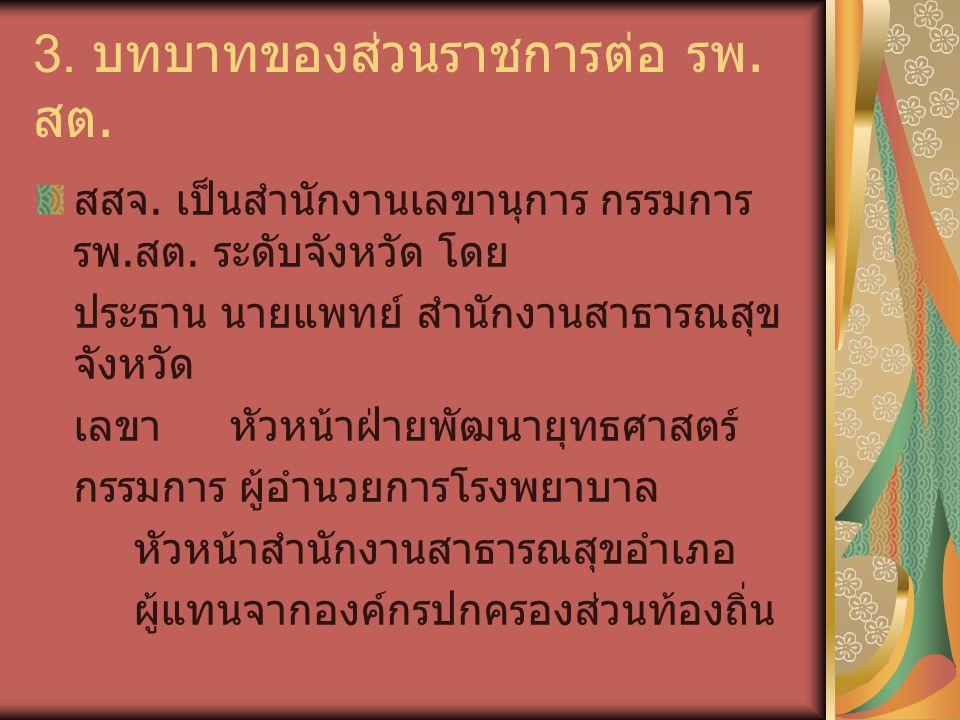 3. บทบาทของส่วนราชการต่อ รพ.สต.
