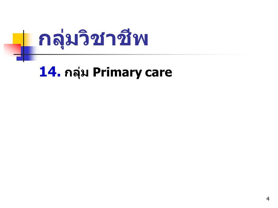 กลุ่มวิชาชีพ 14. กลุ่ม Primary care