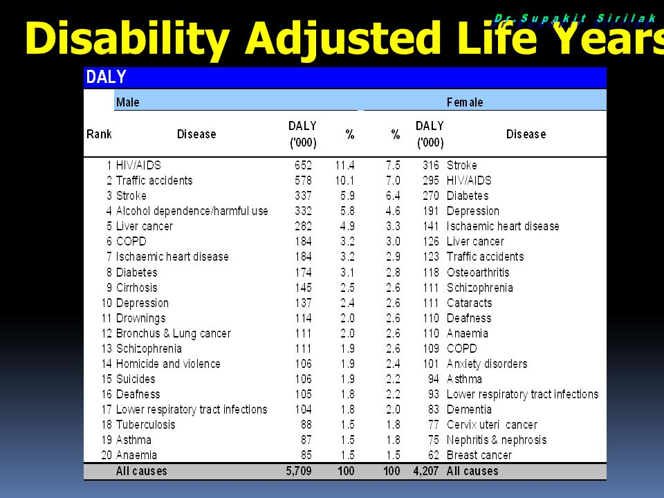Disability Adjusted Life Years (DALY) Loss 2004