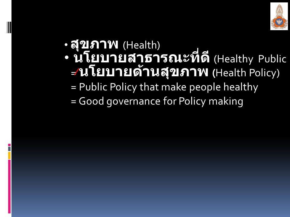 นโยบายสาธารณะที่ดี (Healthy Public Policy)