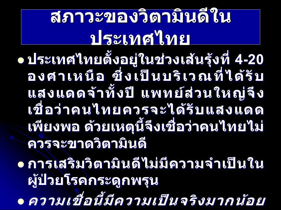 สภาวะของวิตามินดีในประเทศไทย