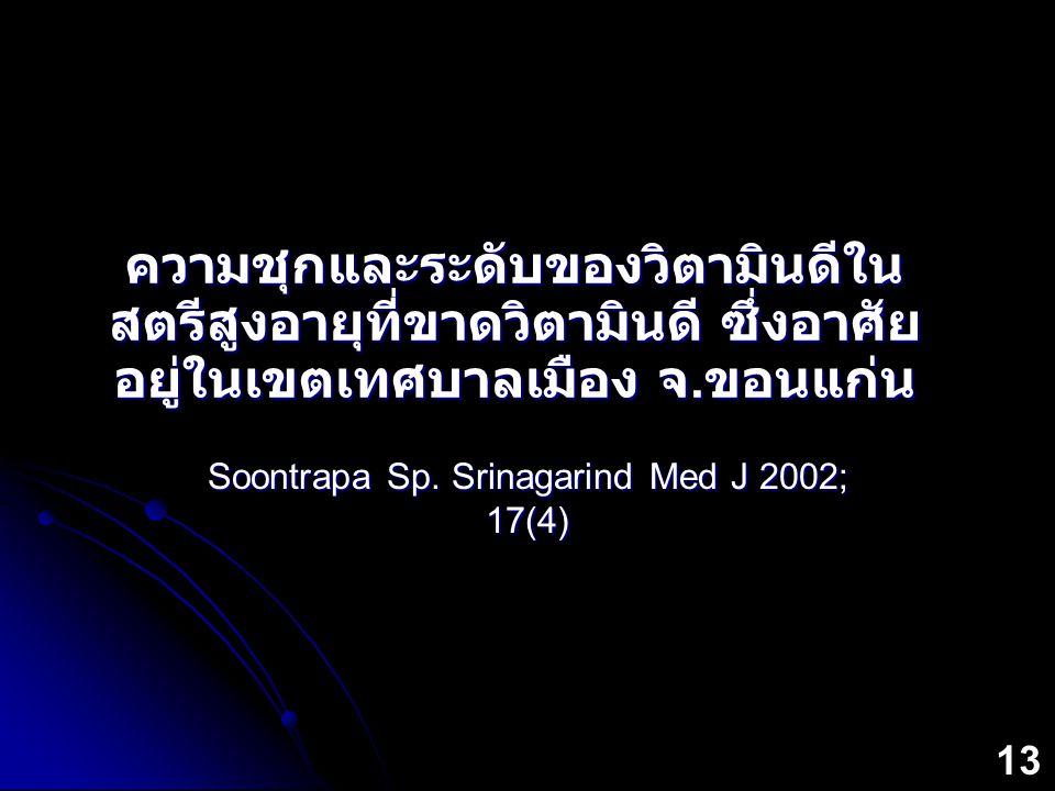 Soontrapa Sp. Srinagarind Med J 2002; 17(4)