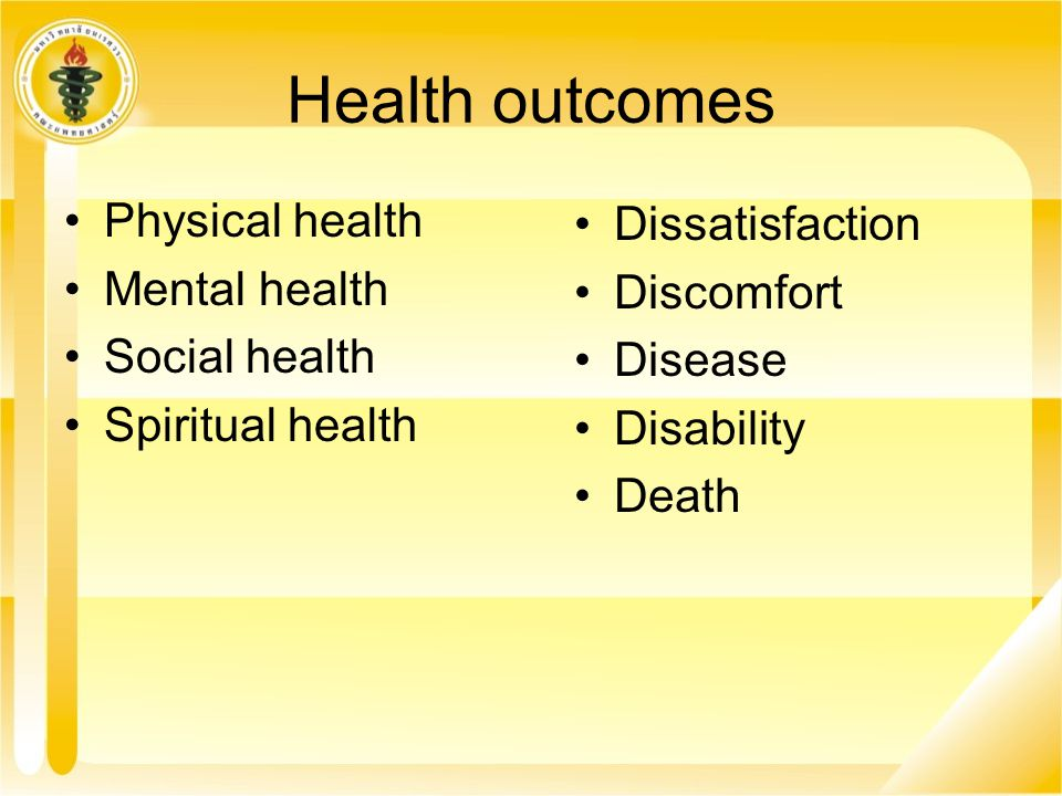 Health outcomes Physical health Dissatisfaction Mental health