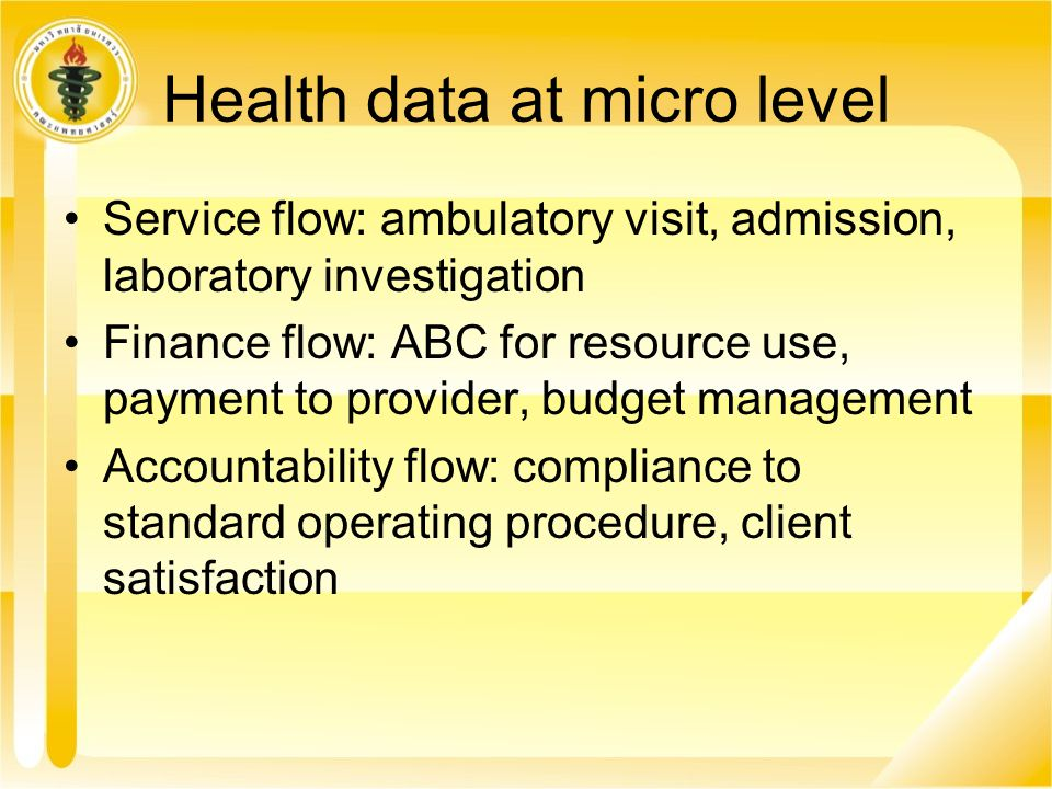Health data at micro level