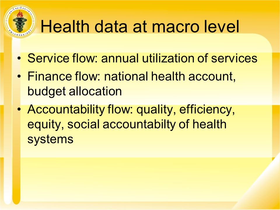 Health data at macro level
