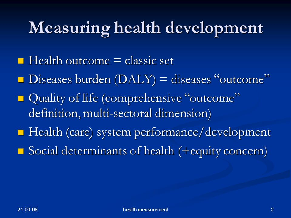 Measuring health development