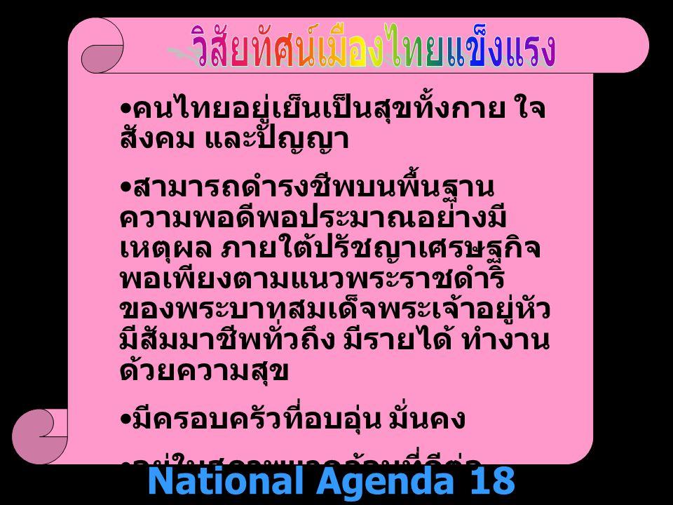 วิสัยทัศน์เมืองไทยแข็งแรง National Agenda 18 December 2004