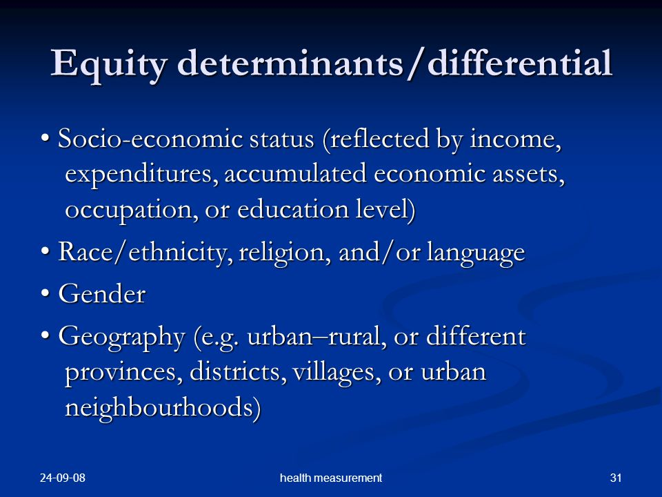 Equity determinants/differential