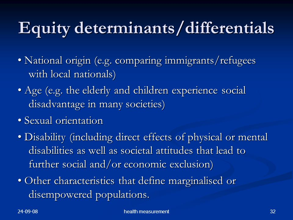 Equity determinants/differentials