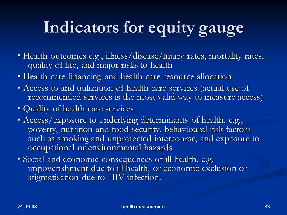 Indicators for equity gauge