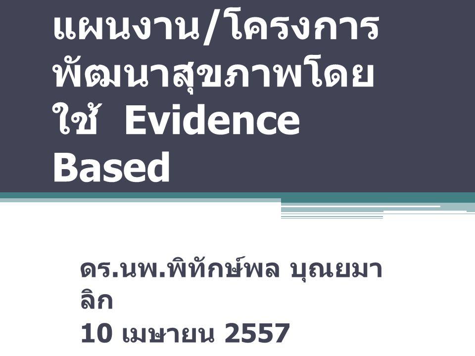 การจัดทำยุทธศาสตร์/แผนงาน/โครงการพัฒนาสุขภาพโดยใช้ Evidence Based