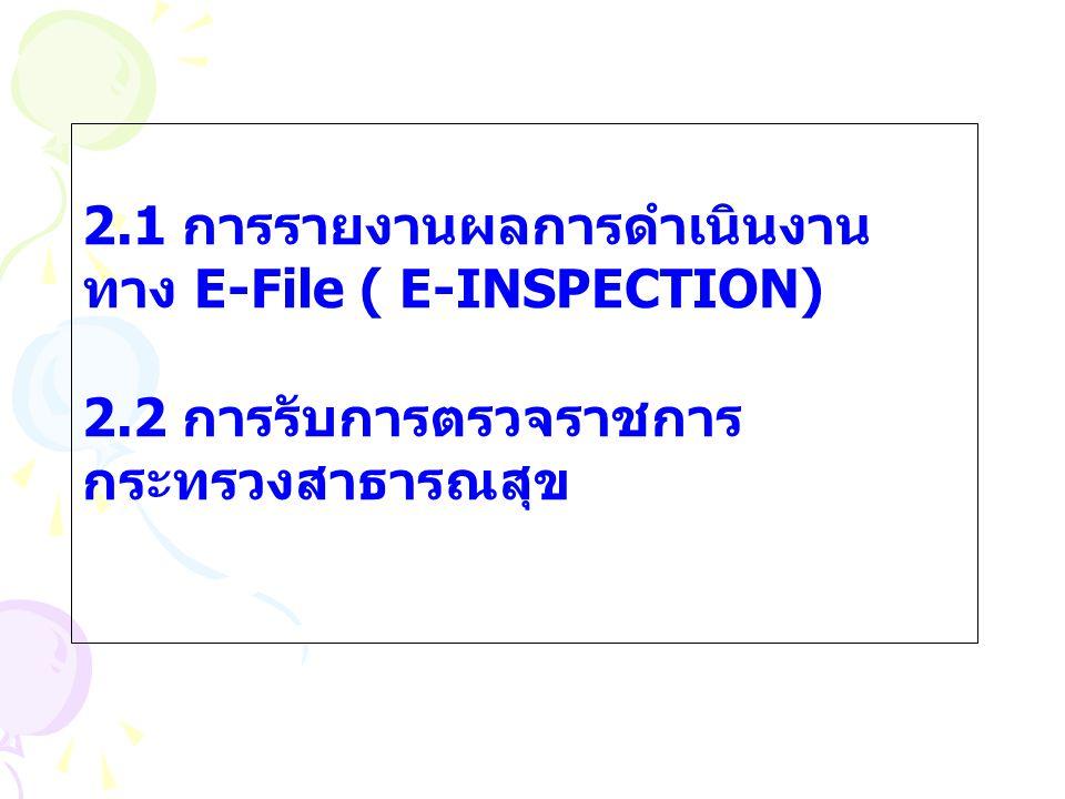 2.1 การรายงานผลการดำเนินงาน