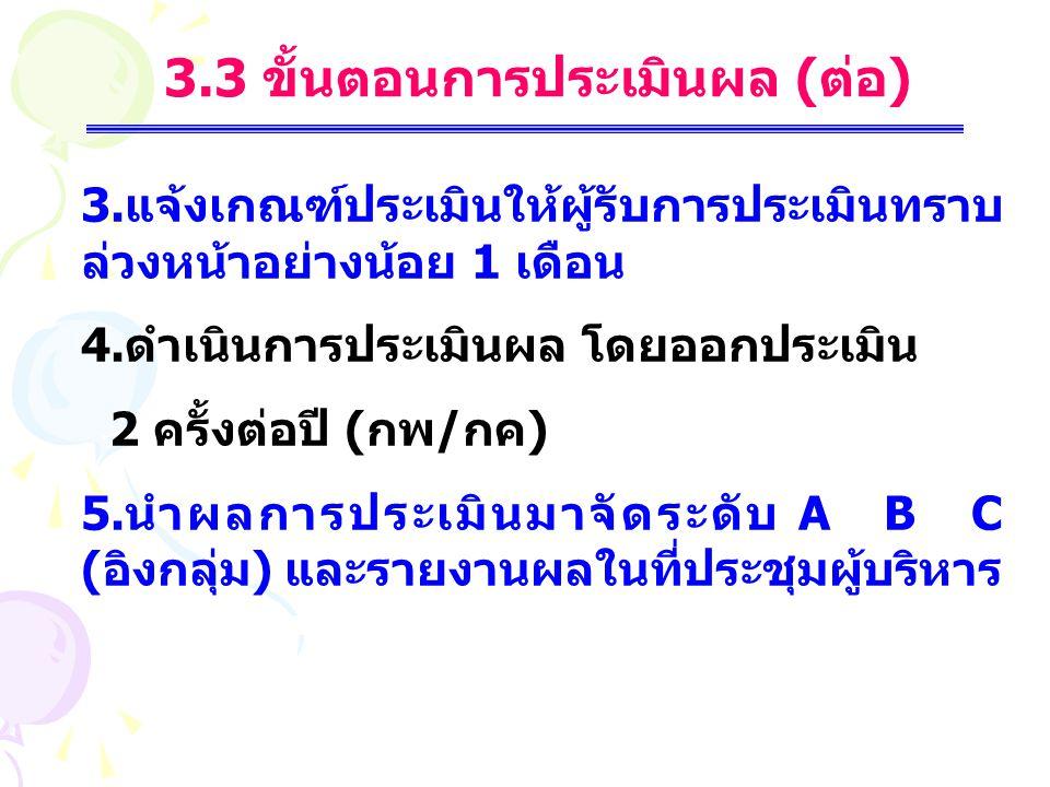 3.3 ขั้นตอนการประเมินผล (ต่อ)