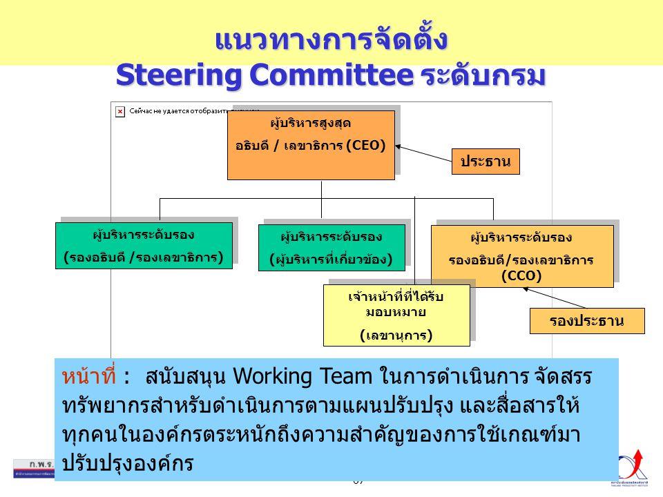 แนวทางการจัดตั้ง Steering Committee ระดับกรม