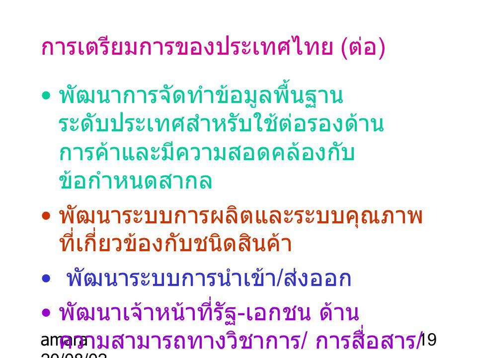 การเตรียมการของประเทศไทย (ต่อ)