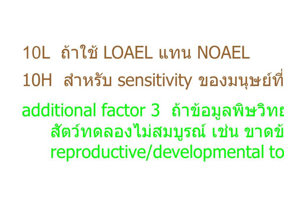 10L ถ้าใช้ LOAEL แทน NOAEL