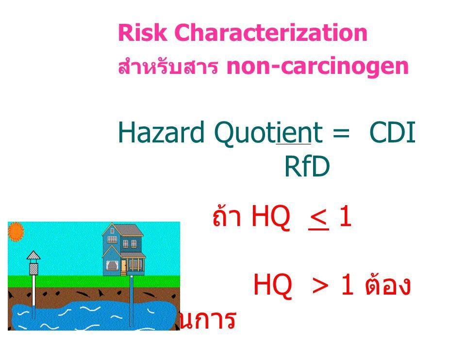 Hazard Quotient = CDI RfD ถ้า HQ < 1 OK HQ > 1 ต้องดำเนินการ