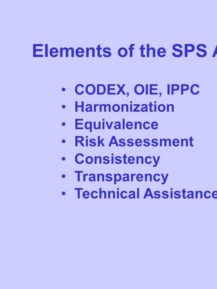 Elements of the SPS Agreement