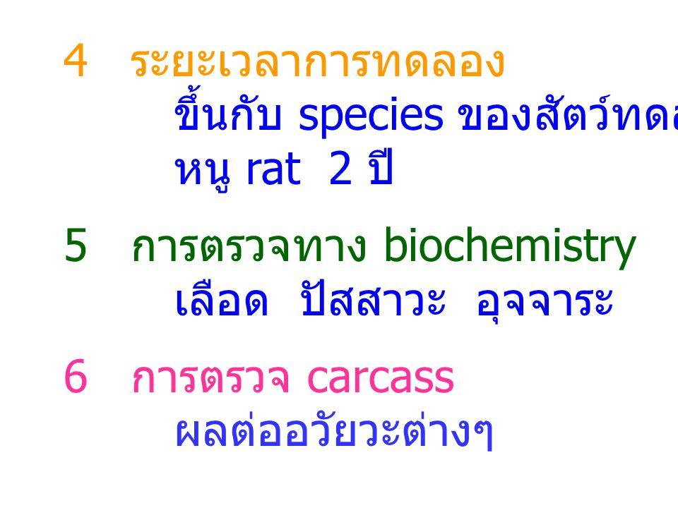 4 ระยะเวลาการทดลอง ขึ้นกับ species ของสัตว์ทดลอง. หนู rat 2 ปี 5 การตรวจทาง biochemistry. เลือด ปัสสาวะ อุจจาระ.