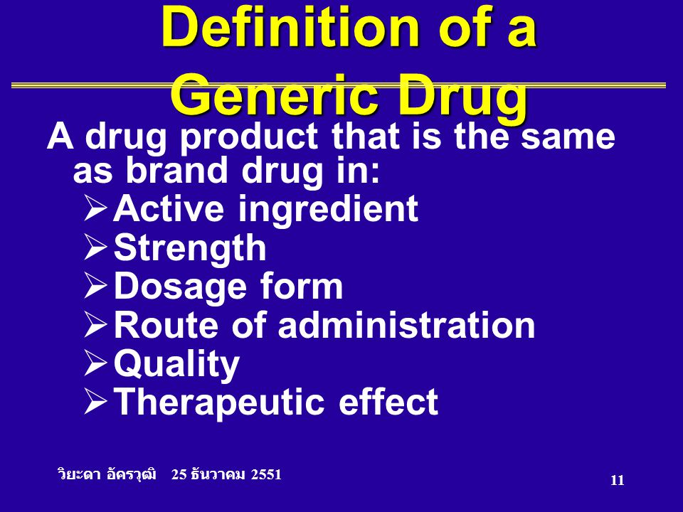 Definition of a Generic Drug