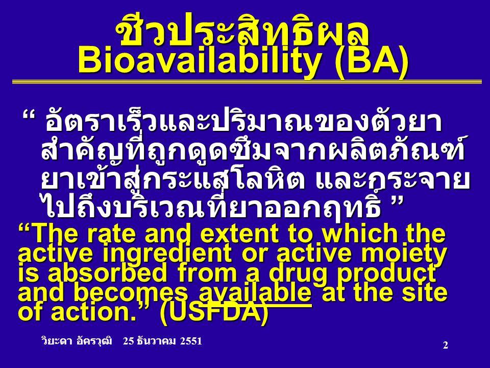 ชีวประสิทธิผล Bioavailability (BA)