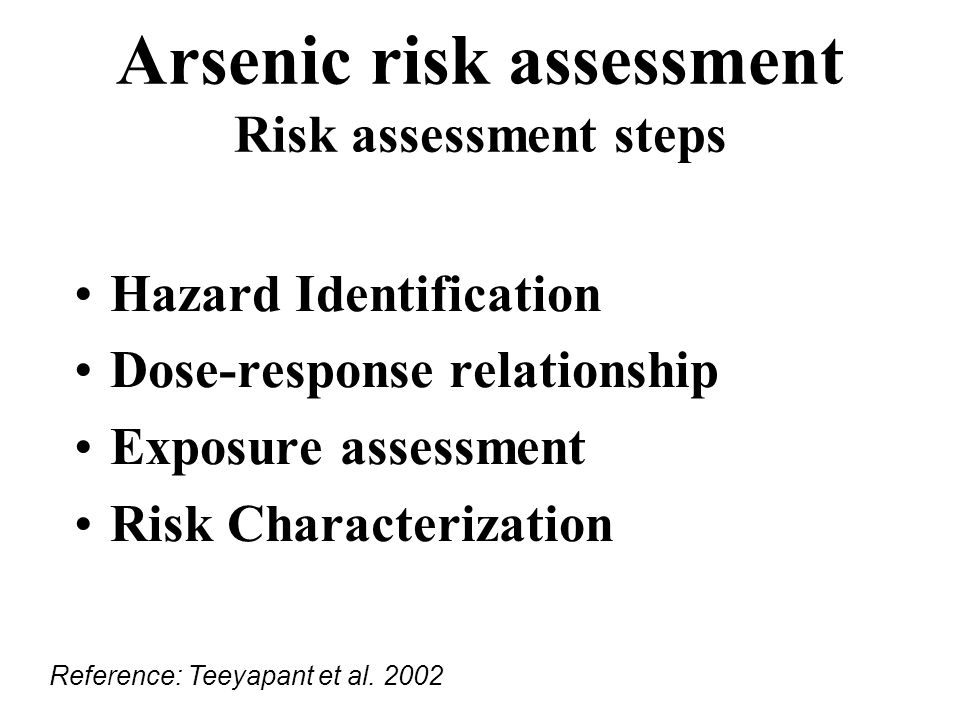 Arsenic risk assessment Risk assessment steps