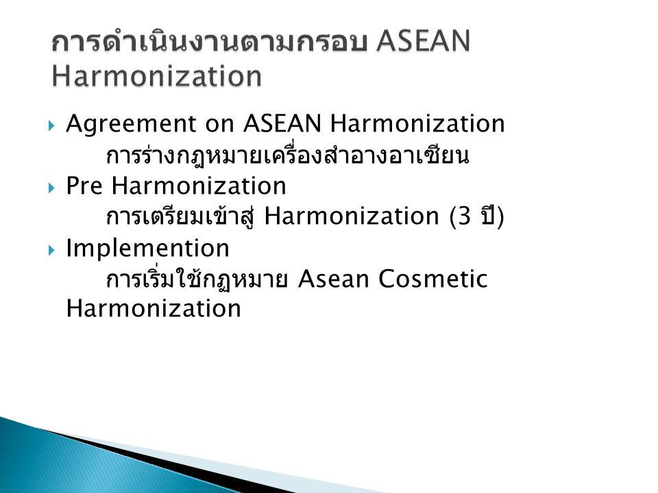 การดำเนินงานตามกรอบ ASEAN Harmonization