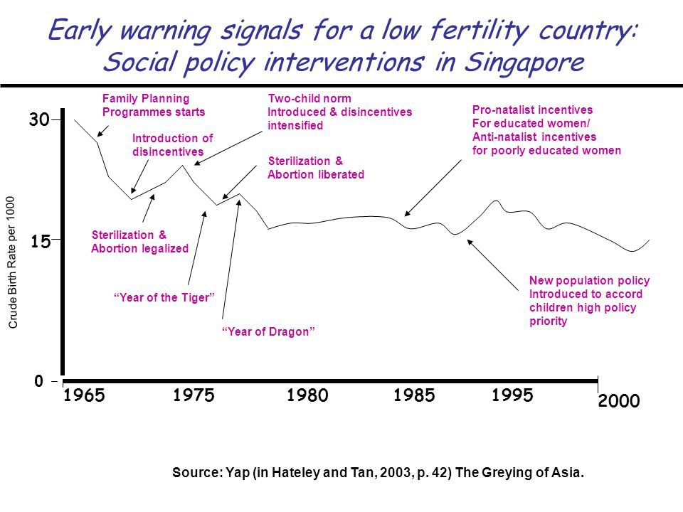 Early warning signals for a low fertility country: Social policy interventions in Singapore