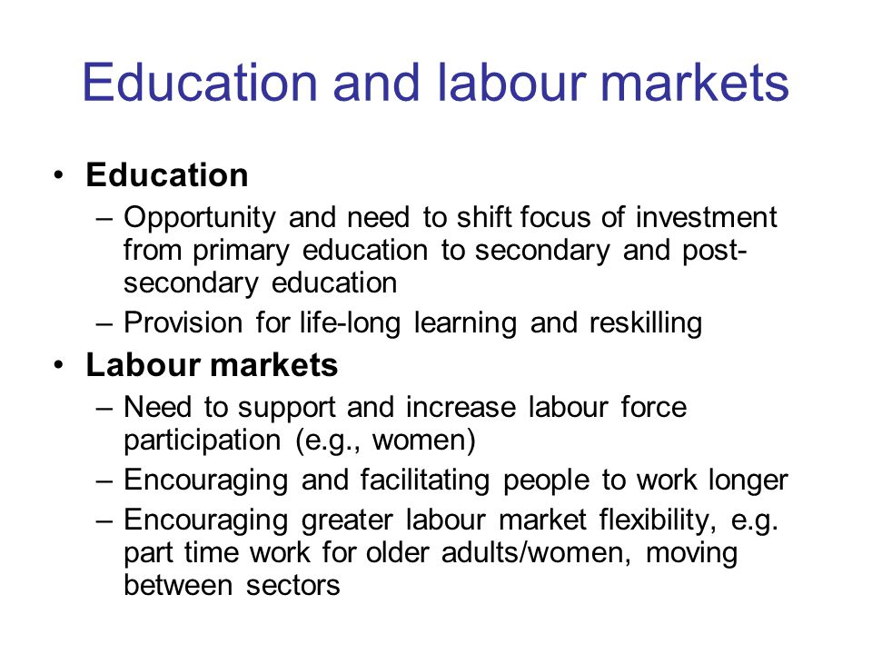 Education and labour markets