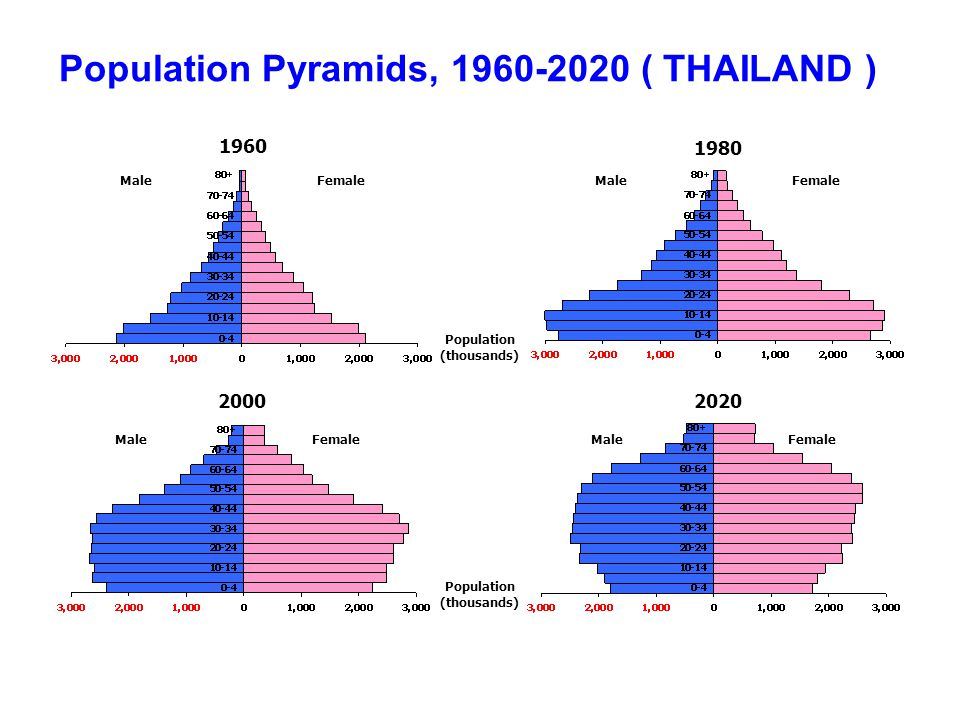 Population Pyramids, 1960-2020 ( THAILAND )