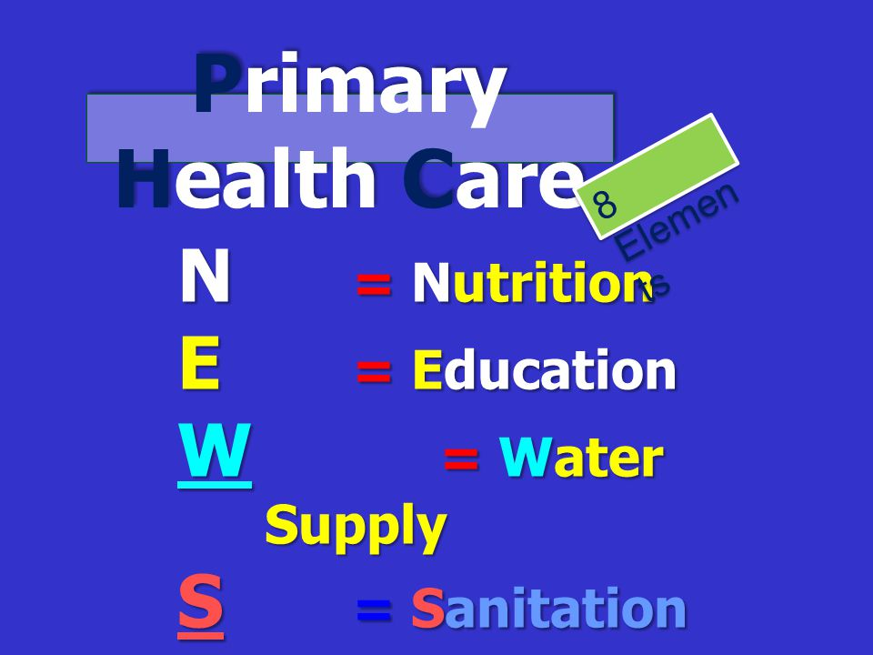 Primary Health Care N = Nutrition E = Education W = Water Supply