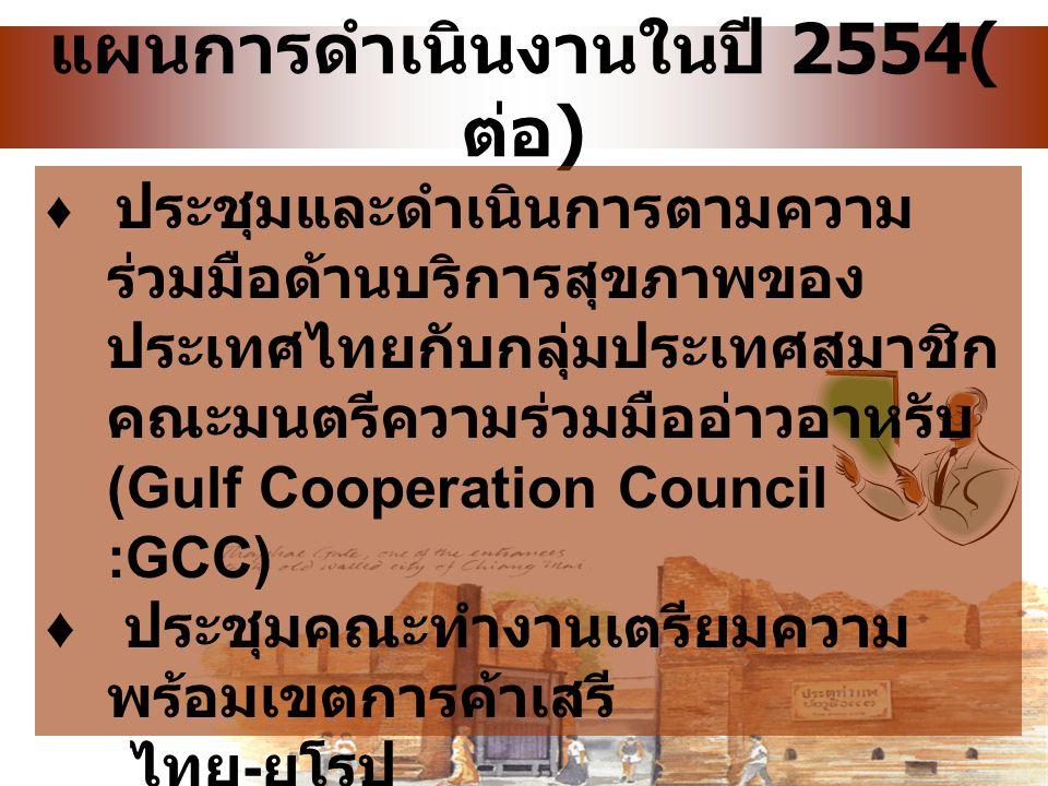 แผนการดำเนินงานในปี 2554(ต่อ)
