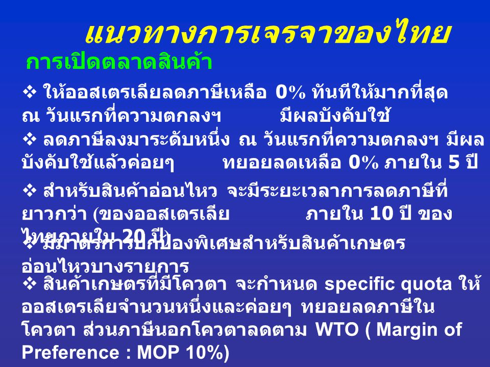 แนวทางการเจรจาของไทย