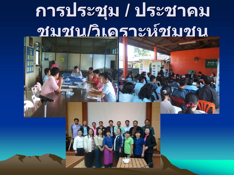 การประชุม / ประชาคมชุมชน/วิเคราะห์ชุมชน