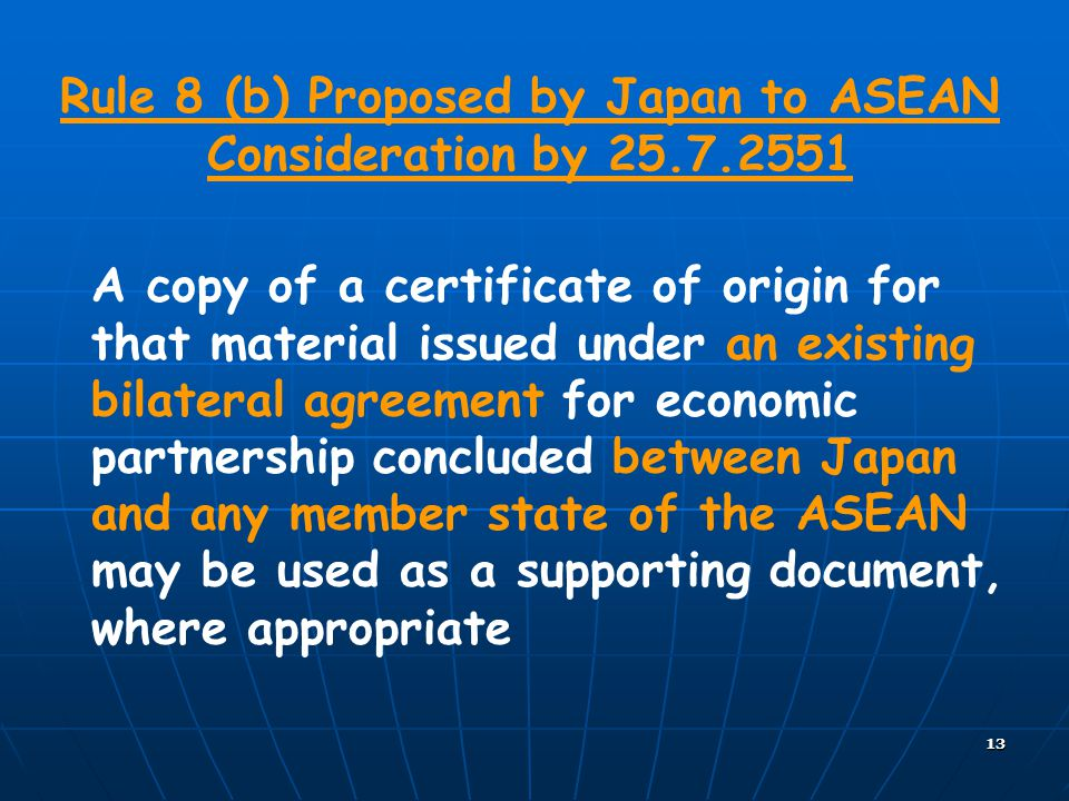 Rule 8 (b) Proposed by Japan to ASEAN Consideration by 25.7.2551