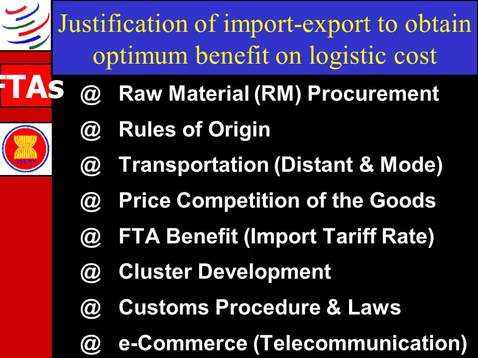 Justification of import-export to obtain optimum benefit on logistic cost