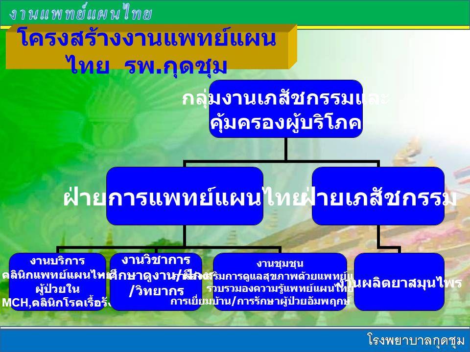 โครงสร้างงานแพทย์แผนไทย รพ.กุดชุม