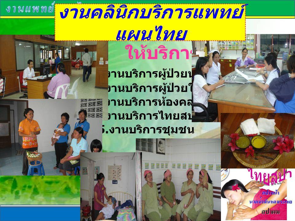 งานคลินิกบริการแพทย์แผนไทย