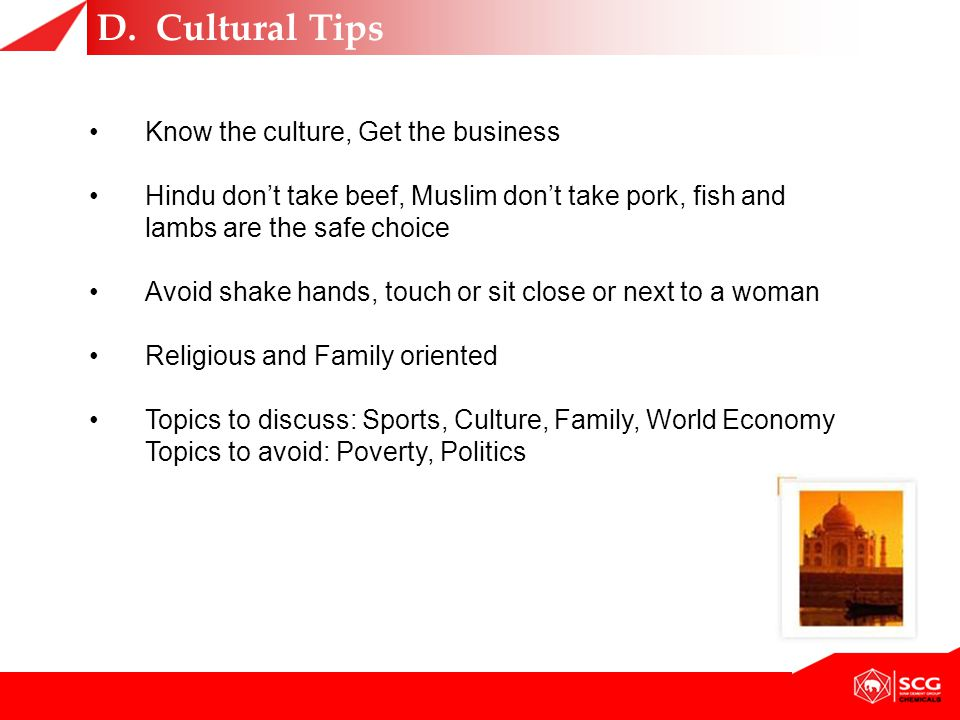 D. Cultural Tips Know the culture, Get the business