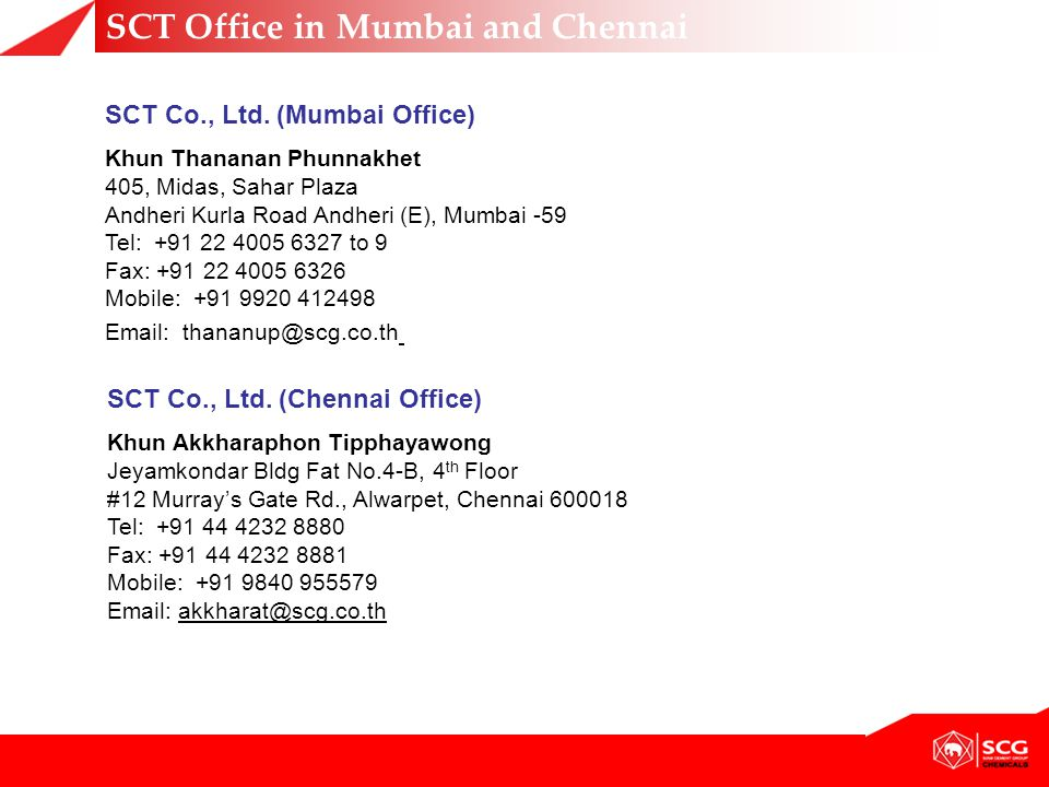 SCT Office in Mumbai and Chennai