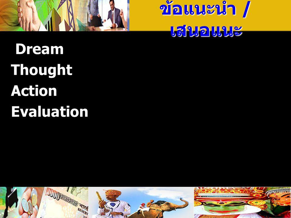 ข้อแนะนำ / เสนอแนะ Dream Thought Action Evaluation