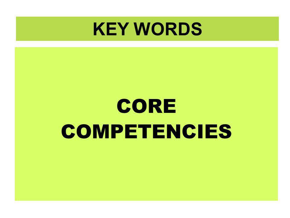 KEY WORDS CORE COMPETENCIES