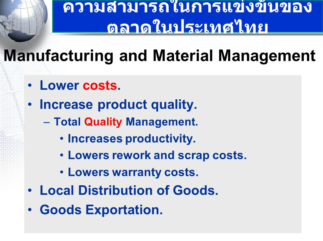 Manufacturing and Material Management