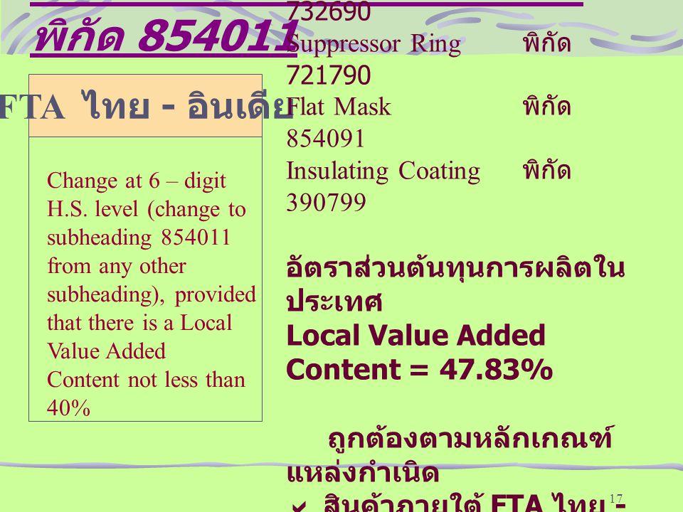 หลักเกณฑ์แหล่งกำเนิดสินค้าพิกัด 854011