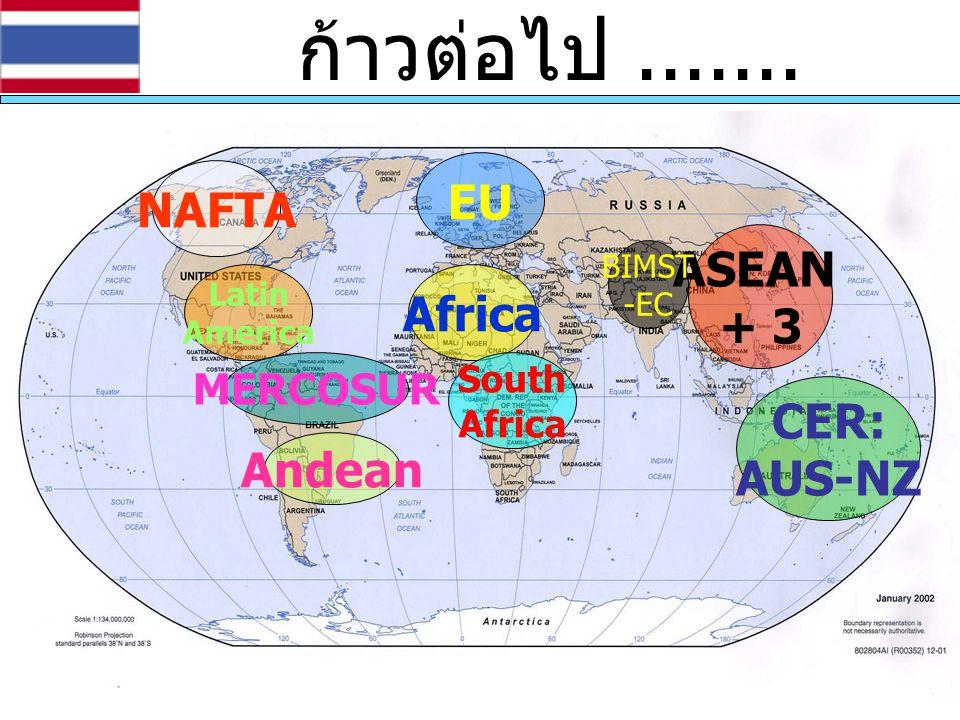 ก้าวต่อไป ....... EU NAFTA ASEAN + 3 Africa CER: AUS-NZ Andean