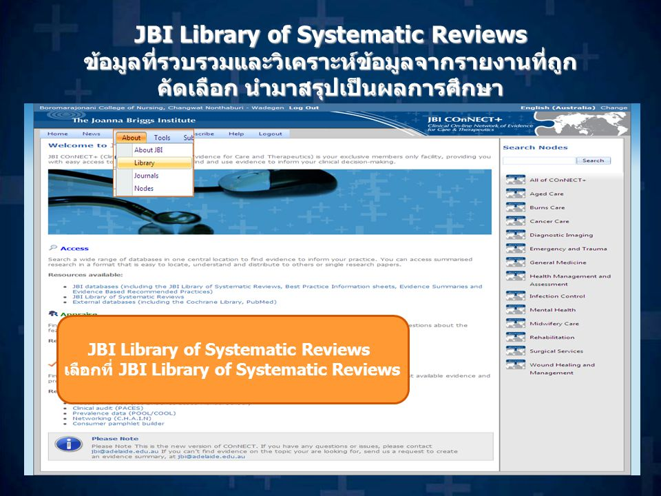 JBI Library of Systematic Reviews