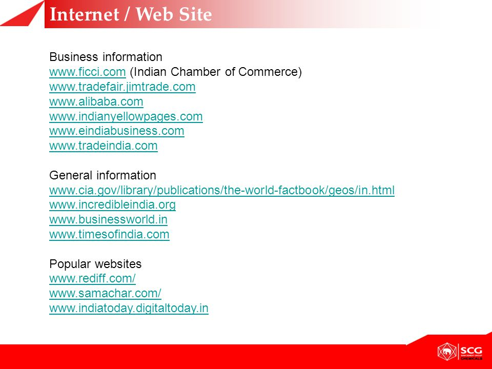Internet / Web Site Business information