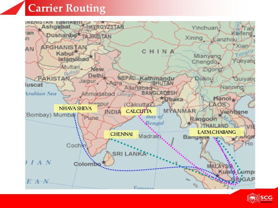Carrier Routing LAEM CHABANG CALCUTTA CHENNAI NHAVA SHEVA